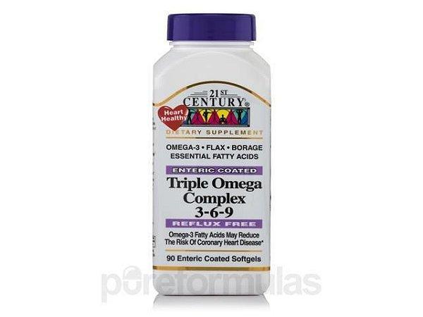 Triplo Complexo Ômega 3-6-9 1000 mg - 21 st Century - 90 Softgels