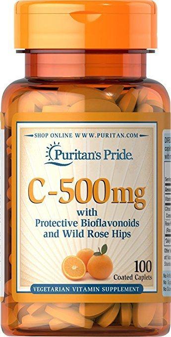 Vitamina C-500 mg com Bioflavonoids & Rose Hips - 100 Cápsulas