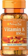Vitamina K 100 mcg - Puritan´s Pride - 100 tablets