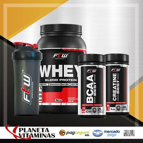 Combo Econômico WPB FTW Fitoway - (Whey Chocolate 900gr + B