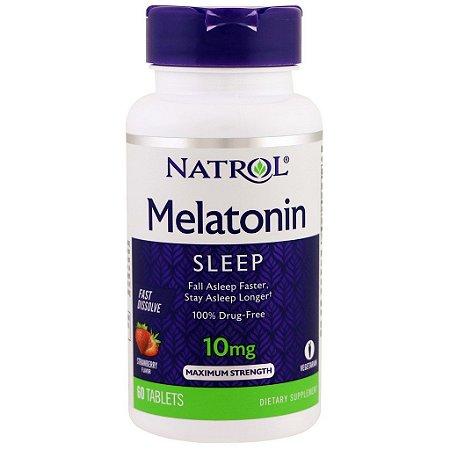 Melatonina 10 mg Fast Dissolve sublingual sabor Morango - Natrol - 60 comprimidos (Envio Internacional)