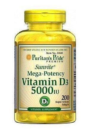 Vitamina D3.5000 IU - Puritan's - 200 softgels