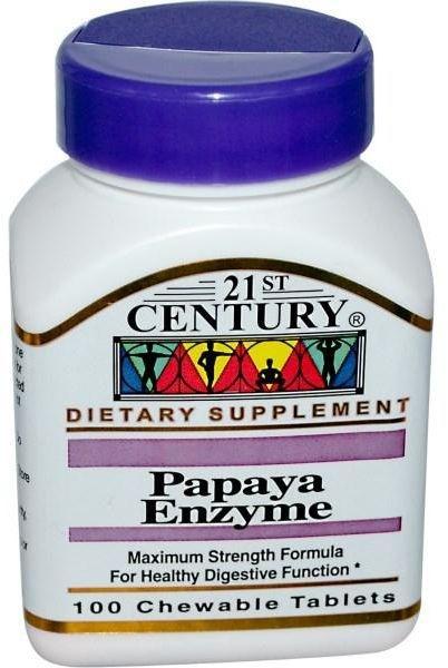 Papaya Enzyme (Enzima de Papaia) - 21 st Century - 100 comprimidos mastigáveis