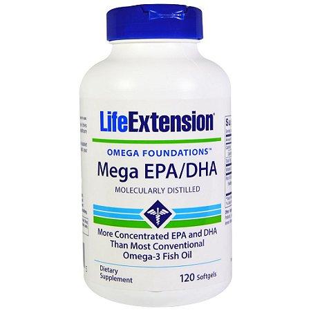 Mega 720 EPA / 480 DHA Super Ômega 3  - Life Extension - 120 softgels (Envio Internacional)