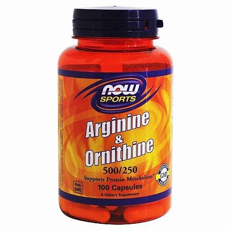 L-Arginina 500 mg e 250 mg Ornitina Now Foods  100 Capsulas (Envio Internacional)
