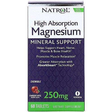 Magnésio Alta absorção - Natrol - 60 tablets mastigáveis  (Envio Internacional)