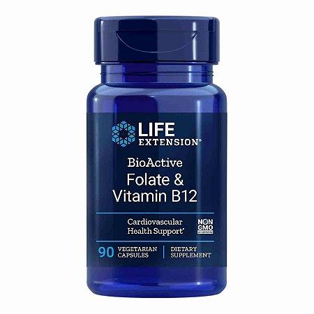 Folato Bioativo e vitamina B12 - 90 Cápsulas - Life Extension (Envio Internacional 10-20 FRETE GRÁTIS)