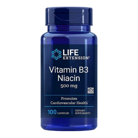 Vitamina B3 Niacina 500 mg 100 Cápsulas - Life Extension (Envio Internacional 10-20 FRETE GRÁTIS)