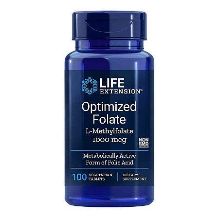 L-Metilfolato de folato otimizado para extensão da vida 1000 mcg - 100 comprimidos vegetarianos - Life Extension • (Envio Internacional 10-20 FRETE GRÁTIS)