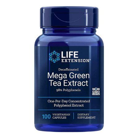 Mega Extrato de Chá Verde Descafeinado - 725 mg - 100 Cápsulas Vegetarianas - Life Extension (Envio Internacional 10-20 FRETE GRÁTIS)