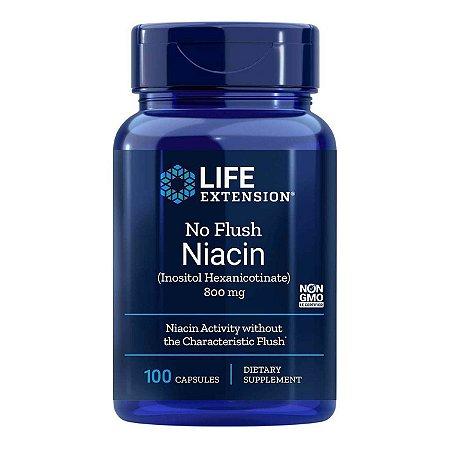 Niacina  Sem Flush 800 mg - 100 Cápsulas - Life Extension(Envio Internacional 10-20 FRETE GRÁTIS)