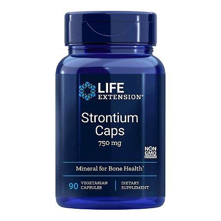 Strontium Caps 750 mg - 90 Cápsulas Vegetarianas - Life Extension (Envio Internacional 10-20 FRETE GRÁTIS)