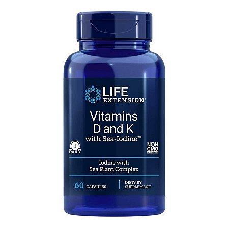 Vitaminas D e K com Iodo do Mar 60 Cápsulas - Life Extension  (Envio Internacional 10-20 FRETE GRÁTIS)