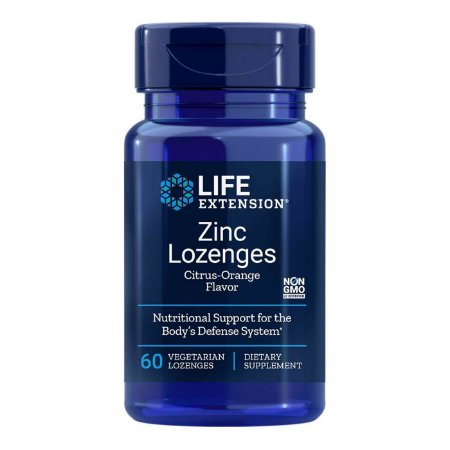 Pastilhas de zinco 24 mg Laranja - 60 pastilhas vegetarianas - Life Extension (Envio Internacional 10-20 FRETE GRÁTIS