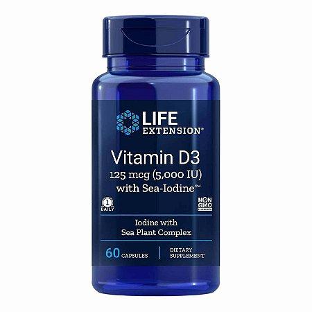 vitamina D3 com iodo do mar - 5.000 UI - 60 cápsulas -Life Extension  (Envio Internacional 10-20 FRETE GRÁTIS)