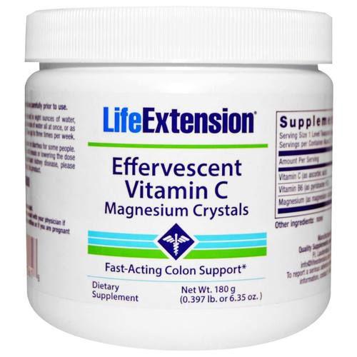 Efervescente Vitamina C - Cristais de Magnésio - 180 g - Life Extension  (Envio Internacional 10-20 FRETE GRÁTIS)