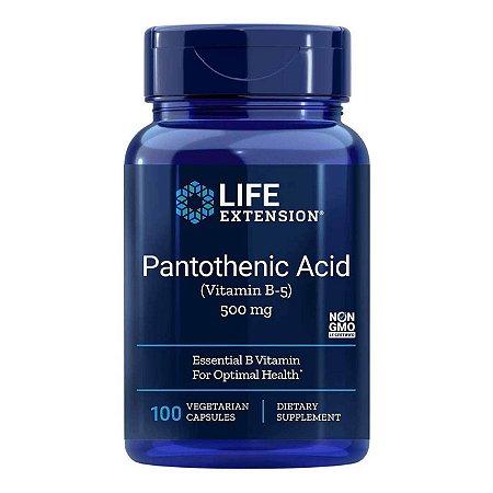 Ácido Pantotênico Vitamina B5 500 mg - 100 Cápsulas - Life Extension   (Envio Internacional 10-20 FRETE GRÁTIS)