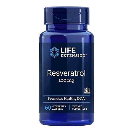 Resveratrol - 100 mg - 60 Cápsulas Vegetarianas - Life Extension   (Envio Internacional 10-20 FRETE GRÁTIS)