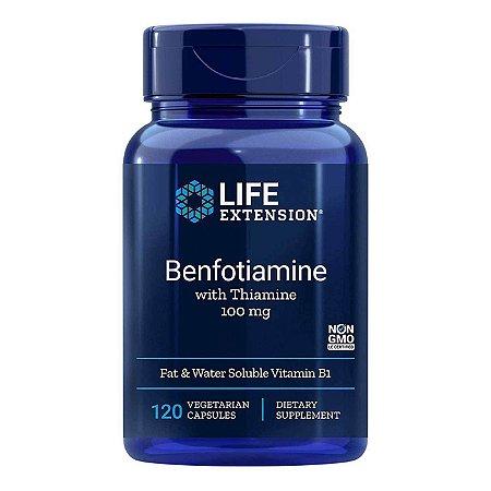 Benfotiamina com tiamina 100 mg - 120 cápsulas vegetarianas - Life Extension   (Envio Internacional 10-20 FRETE GRÁTIS)