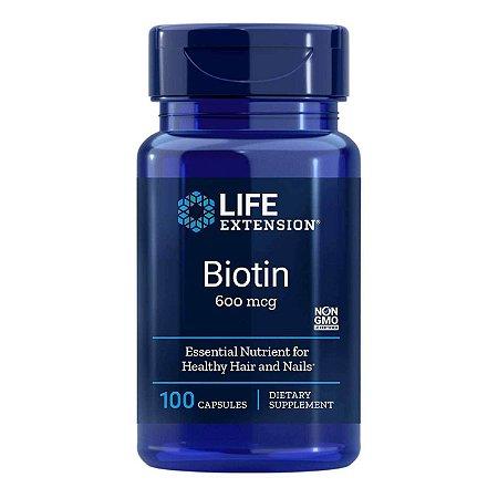 Biotina 600 mcg - 100 Cápsulas - Life Extension   (Envio Internacional 10-20 FRETE GRÁTIS)