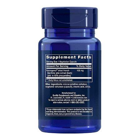 Pycnogenol - 60 Cápsulas Vegetarianas - Life Extension   (Envio Internacional 10-20 FRETE GRÁTIS)