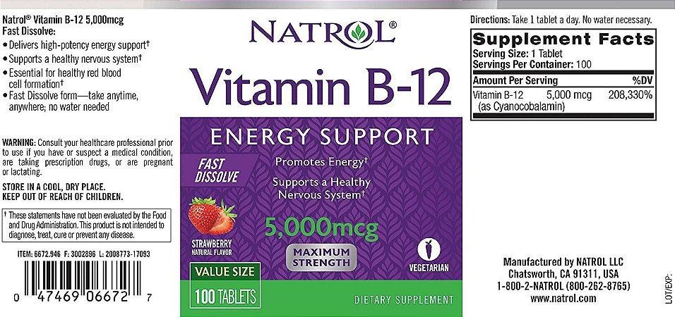 Vitamina B12 Natrol -  5mcg Sublingual  - 100 tabletes  (entrega 5 a 10 dias)