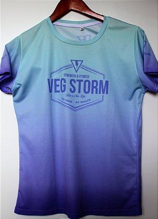 Camiseta dry fit feminina degrade verde água com lilás