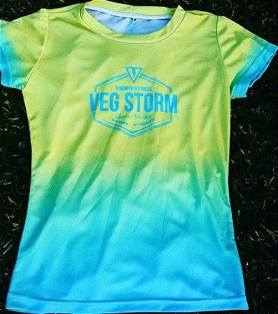 Camiseta dry fit feminina degrade amarelo bebê com azul