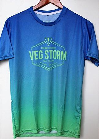 Camiseta dry fit unissex degrade azul com verde