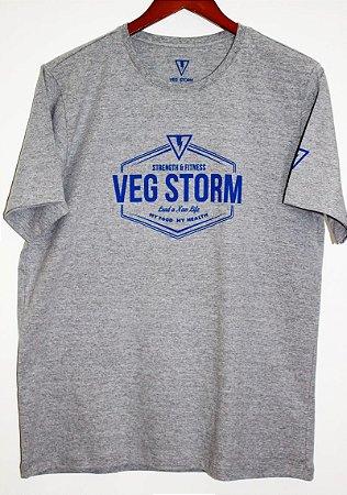 Camiseta malha unissex cinza mescla com azul