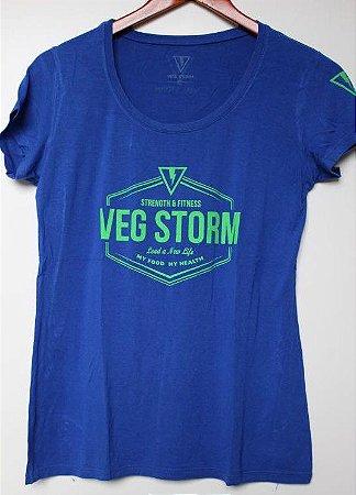 Camiseta Viscolycra femininia azul royal com verde limão