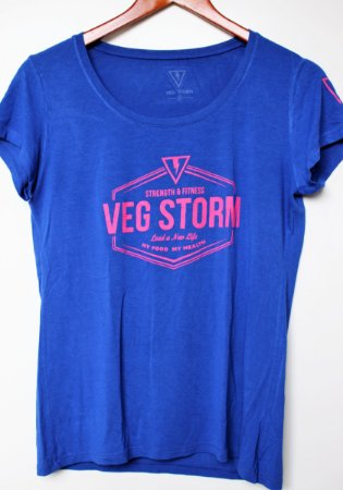 Camiseta Viscolycra feminina azul royal com rosa flúor