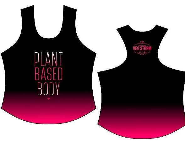 Regata dry fit feminina preta com rosa Plant Based