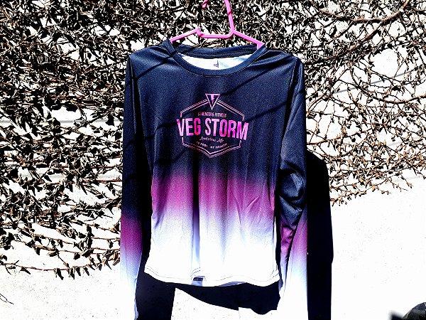 Camiseta manga longa corta vento dry fit feminina