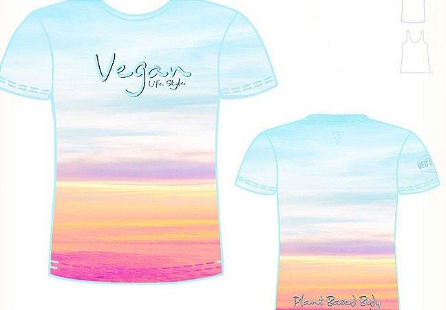 Camiseta degrade por do sol Vegan Life Style 2020