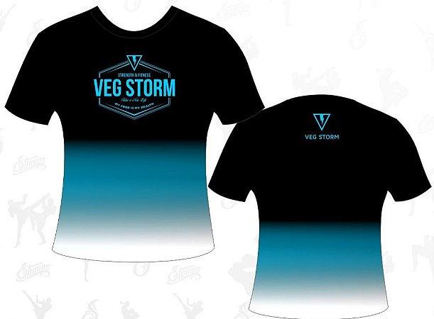 Camiseta dry fit degrade preta com azul Vegstorm
