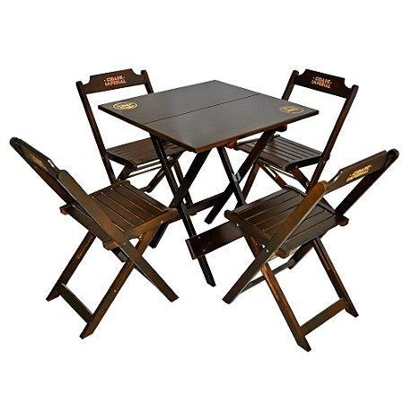 Conjunto Mesa com 4 Cadeiras Dobrável de Madeira Imbuia - 70 x 70cm