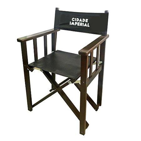 Conjunto Mesa com 4 Cadeiras Diretor Dobrável de Madeira Imbuia - 70 x 70cm