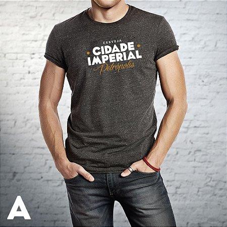 Camiseta MASCULINA Cerveja Cidade Imperial Preta Mescla Silk - 5 Modelos
