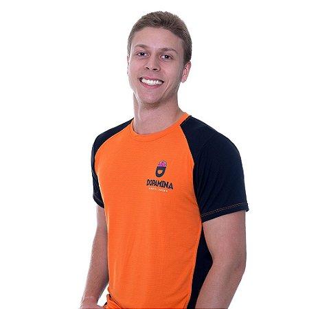 "Camiseta MASCULINA Dry Fit ""Furadinha"" Laranja com Preto - Dopamina"