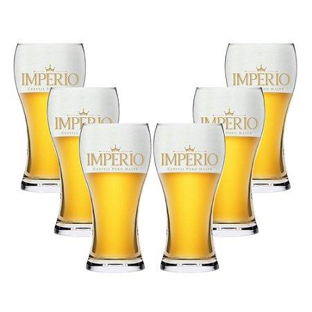 Conjunto com 6 Copos Athenas 200ml Cerveja Império
