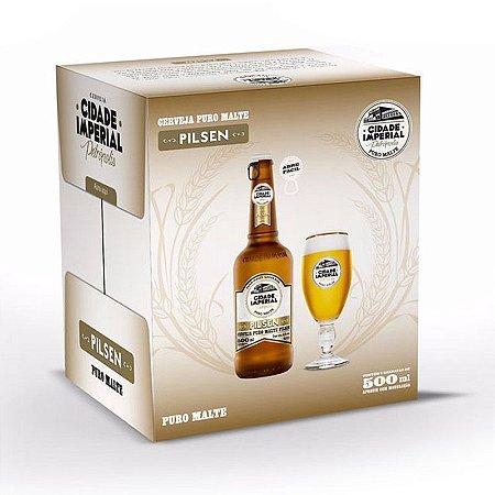Cerveja Cidade Imperial Pilsen Long Neck 500ml com tampa abre fácil caixa com 6