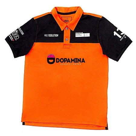 Camiseta MASCULINA Laranja Polo Império e Dopamina RACING 13