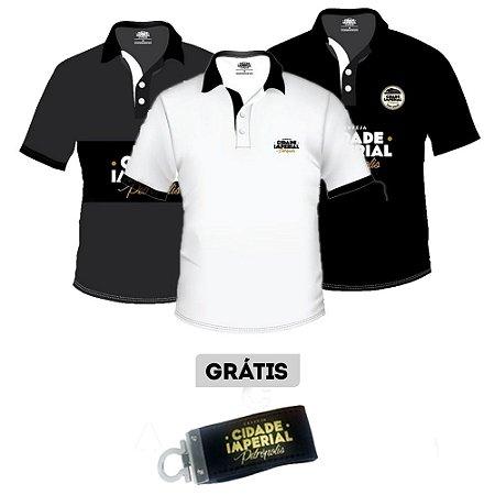 Kit 3 Camiseta MASCULINA Polo Cerveja Cidade Imperial + BRINDE 1 CHAVEIRO PEN DRIVE 4 GB