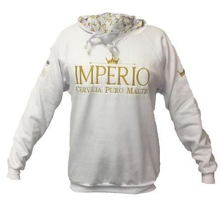 9ade6ba1c4 Blusa Moletom Império com logo bordado e capuz personalizado - BRANCO