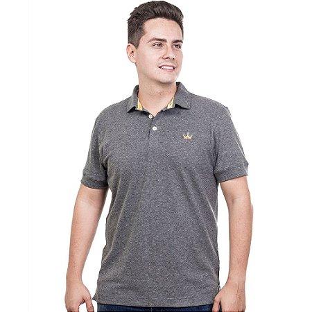 Camiseta Polo Império com Coroa Bordada - Cinza Escura