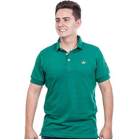 Camiseta Polo Império com Coroa Bordada - Verde