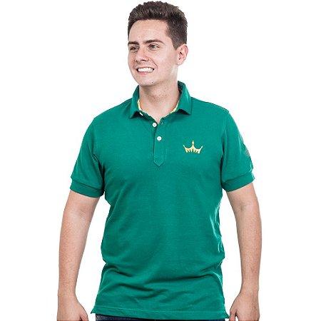 Camiseta Polo Império com Coroa em Alto Relevo - Verde