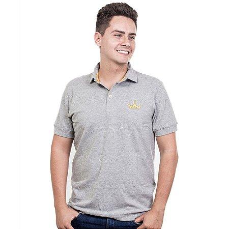 Camiseta Polo Império com Coroa em Alto Relevo - Cinza Claro