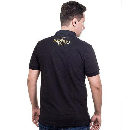 Camiseta Polo Império Gold em Alto Relevo - Preta